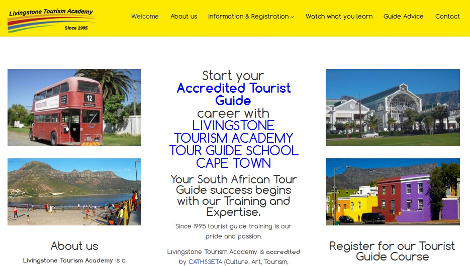 Webdesign for Livingstone Tourism Academy Cape Town